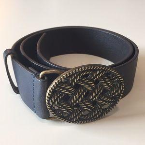 Genuine Leather Navy Belt Brass Buckle